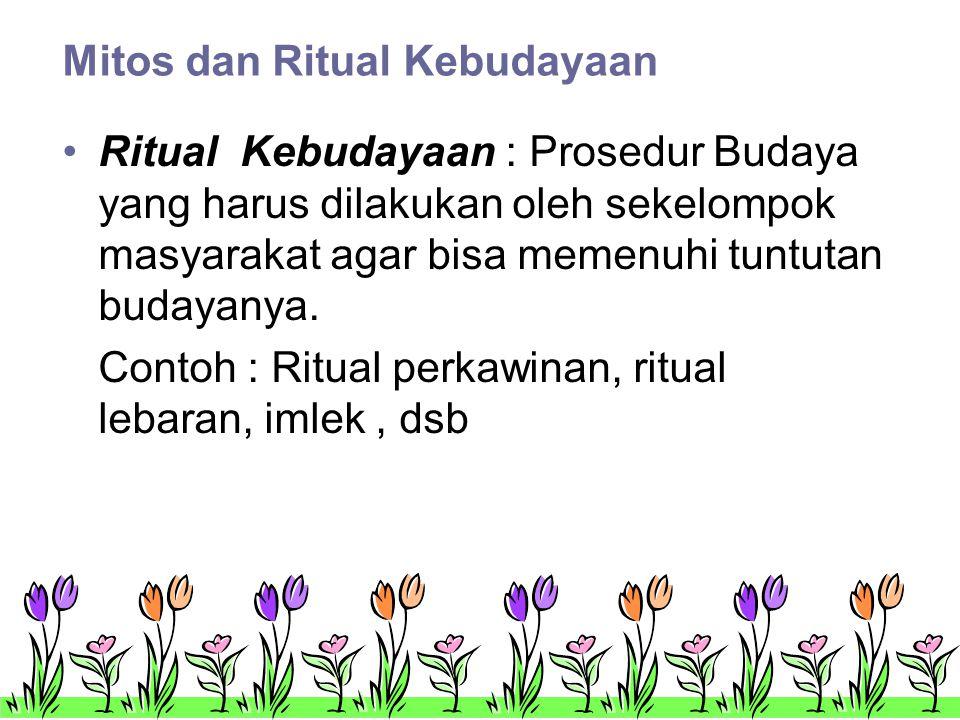 Mitos dan Ritual Kebudayaan •Ritual Kebudayaan : Prosedur Budaya yang harus dilakukan oleh sekelompok masyarakat agar bisa memenuhi tuntutan budayanya.