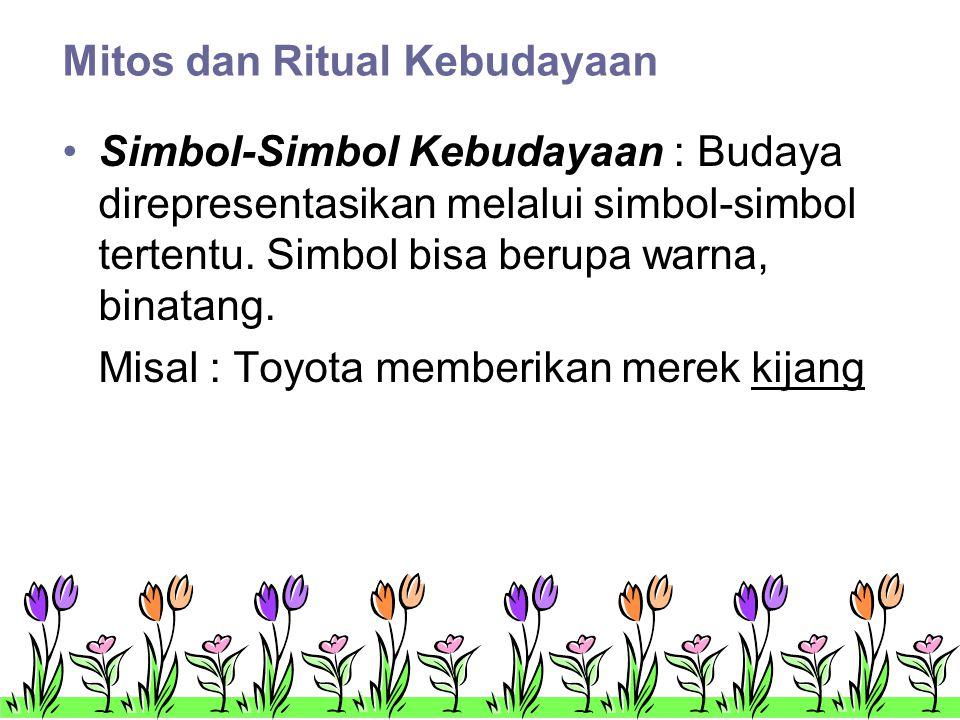 Mitos dan Ritual Kebudayaan •Simbol-Simbol Kebudayaan : Budaya direpresentasikan melalui simbol-simbol tertentu.