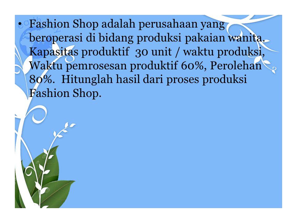 • Fashion Shop adalah perusahaan yang beroperasi di bidang produksi pakaian wanita. Kapasitas produktif 30 unit / waktu produksi, Waktu pemrosesan pro