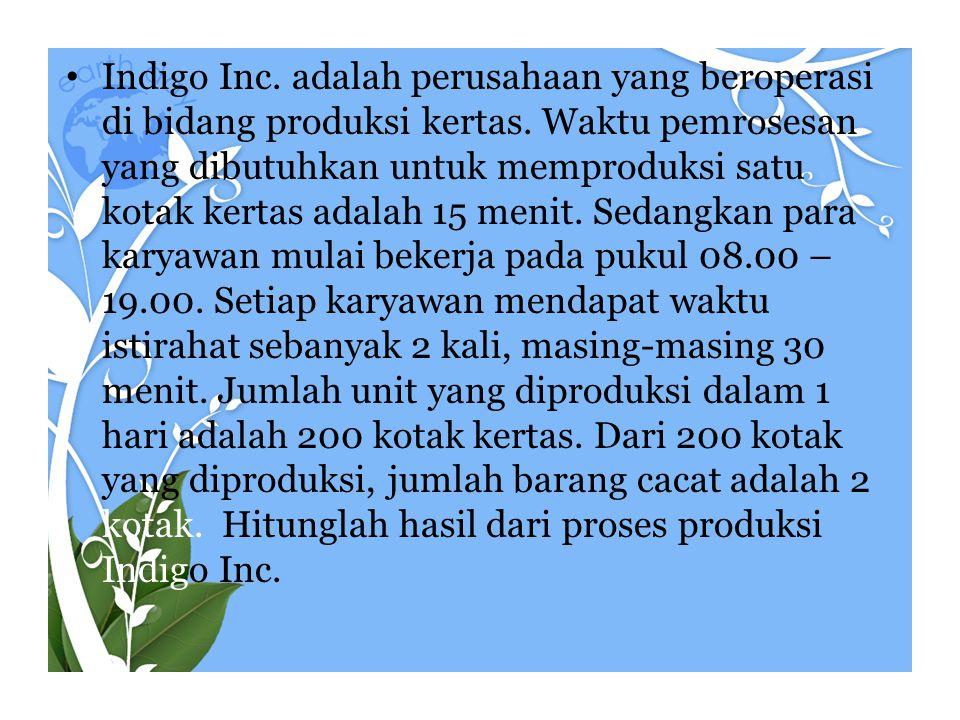 • Indigo Inc. adalah perusahaan yang beroperasi di bidang produksi kertas. Waktu pemrosesan yang dibutuhkan untuk memproduksi satu kotak kertas adalah