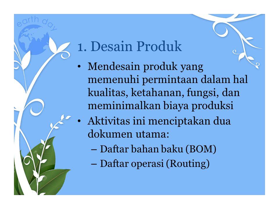 1. Desain Produk • Mendesain produk yang memenuhi permintaan dalam hal kualitas, ketahanan, fungsi, dan meminimalkan biaya produksi • Aktivitas ini me