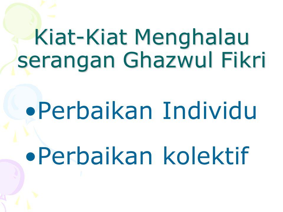Kiat-Kiat Menghalau serangan Ghazwul Fikri •Perbaikan Individu •Perbaikan kolektif