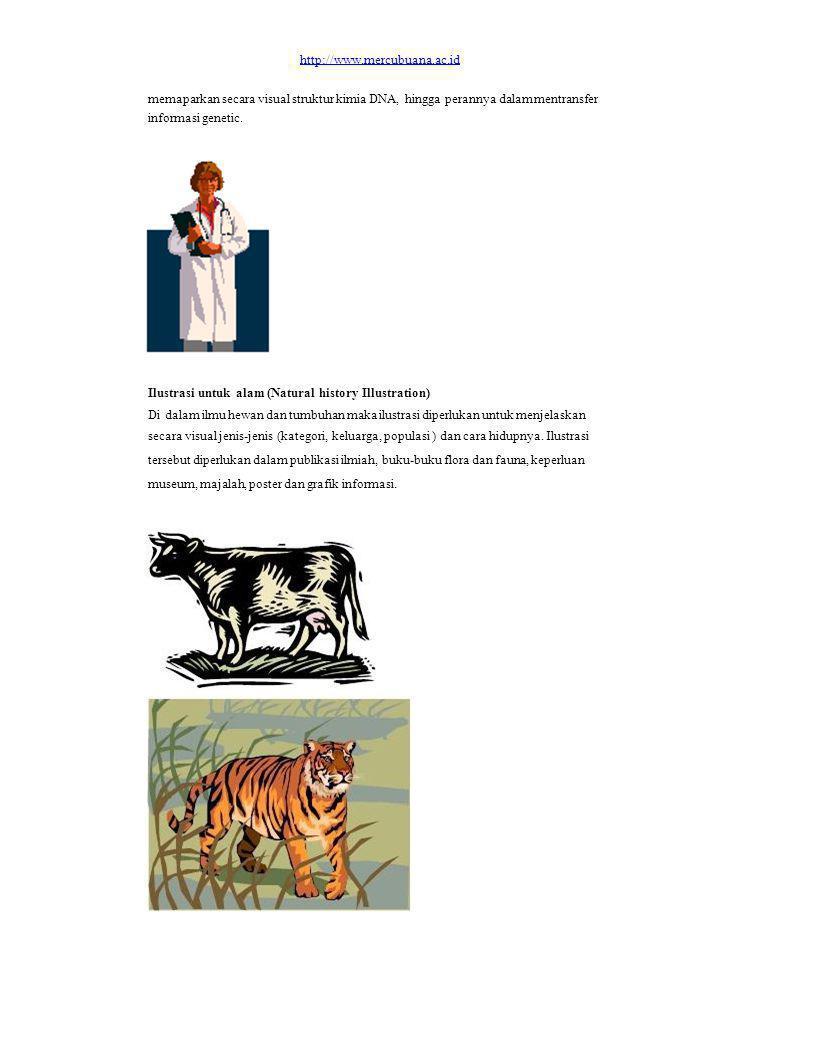 http://www.mercubuana.ac.id memaparkan secara visual struktur kimia DNA, hingga perannya dalam mentransfer informasi genetic. Ilustrasi untuk alam (Na