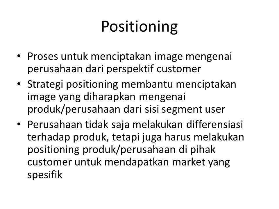 Positioning • Proses untuk menciptakan image mengenai perusahaan dari perspektif customer • Strategi positioning membantu menciptakan image yang dihar