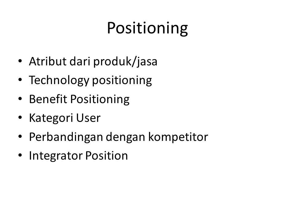 Positioning • Atribut dari produk/jasa • Technology positioning • Benefit Positioning • Kategori User • Perbandingan dengan kompetitor • Integrator Po
