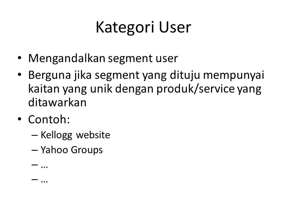 Kategori User • Mengandalkan segment user • Berguna jika segment yang dituju mempunyai kaitan yang unik dengan produk/service yang ditawarkan • Contoh