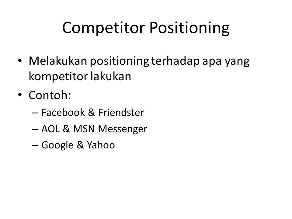 Competitor Positioning • Melakukan positioning terhadap apa yang kompetitor lakukan • Contoh: – Facebook & Friendster – AOL & MSN Messenger – Google &