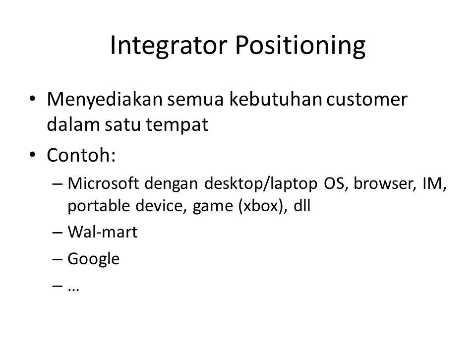 Integrator Positioning • Menyediakan semua kebutuhan customer dalam satu tempat • Contoh: – Microsoft dengan desktop/laptop OS, browser, IM, portable