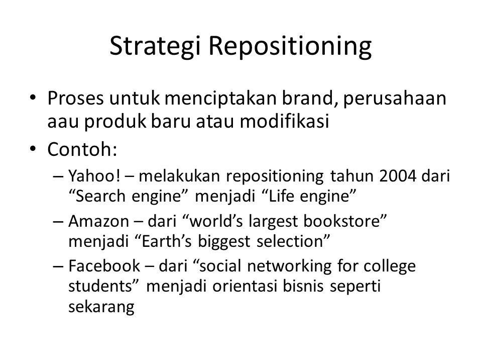 Strategi Repositioning • Proses untuk menciptakan brand, perusahaan aau produk baru atau modifikasi • Contoh: – Yahoo! – melakukan repositioning tahun