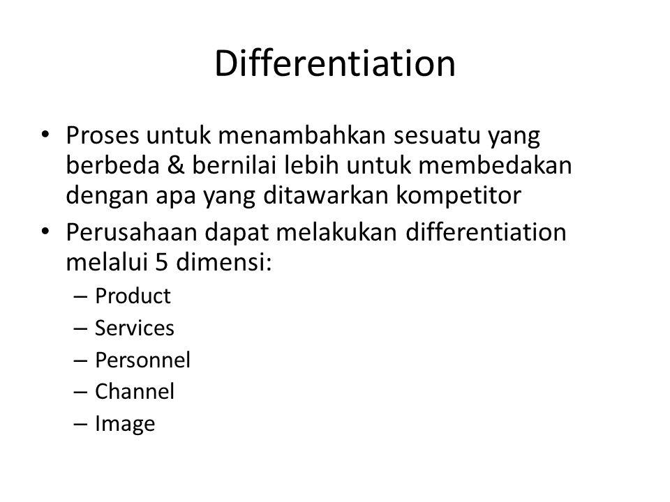 Differentiation • Proses untuk menambahkan sesuatu yang berbeda & bernilai lebih untuk membedakan dengan apa yang ditawarkan kompetitor • Perusahaan d