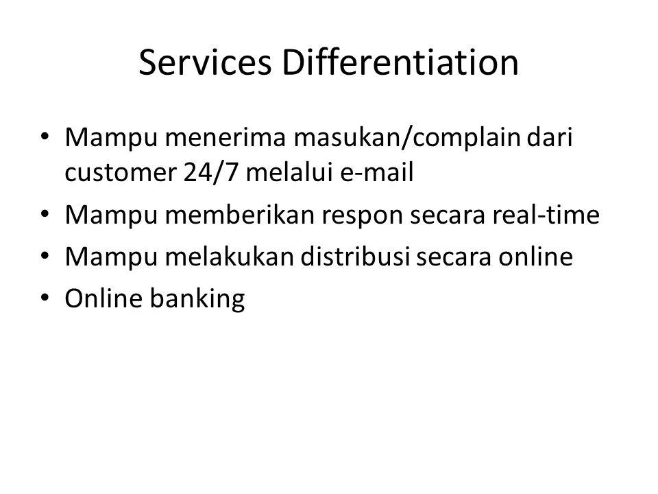 Services Differentiation • Mampu menerima masukan/complain dari customer 24/7 melalui e-mail • Mampu memberikan respon secara real-time • Mampu melaku