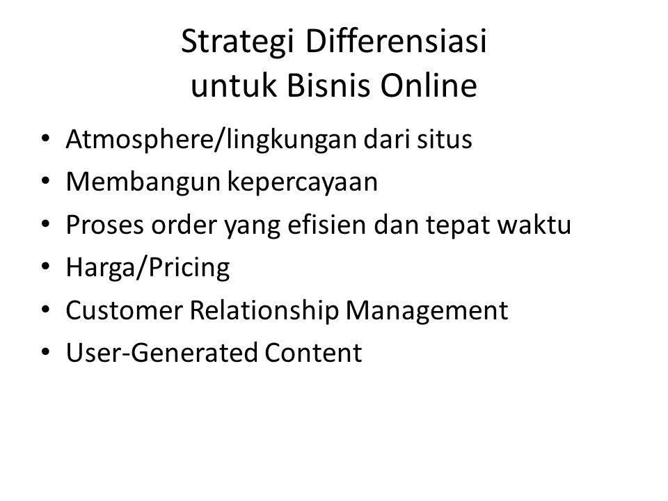 Strategi Differensiasi untuk Bisnis Online • Atmosphere/lingkungan dari situs • Membangun kepercayaan • Proses order yang efisien dan tepat waktu • Ha