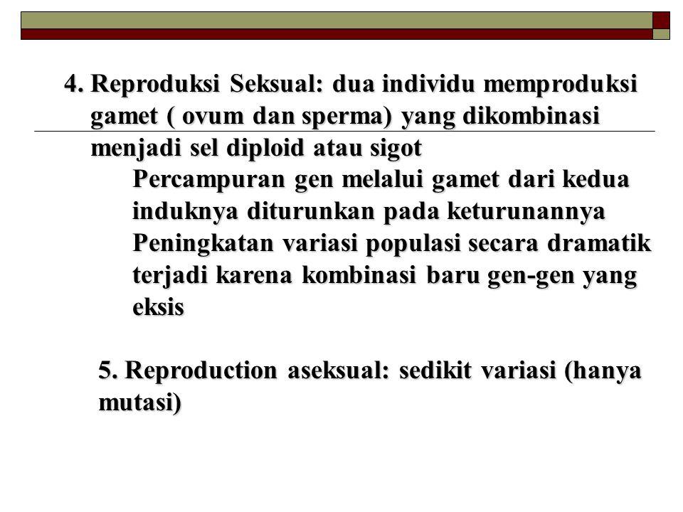4. Reproduksi Seksual: dua individu memproduksi gamet ( ovum dan sperma) yang dikombinasi gamet ( ovum dan sperma) yang dikombinasi menjadi sel diploi
