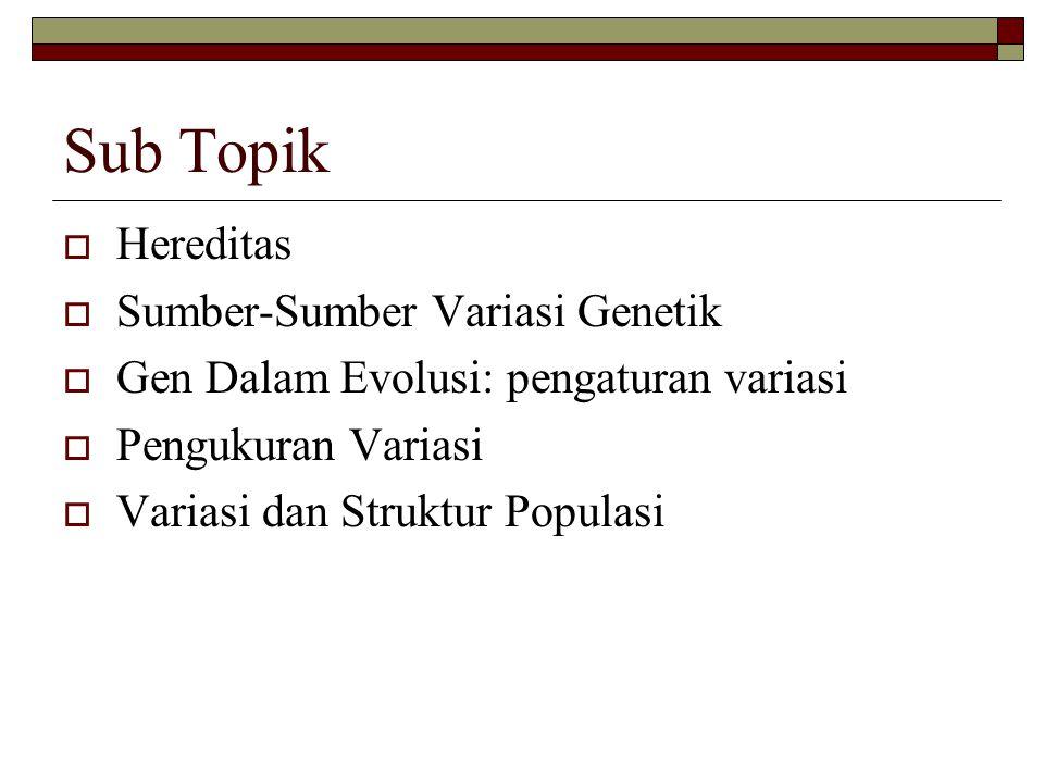 Sub Topik  Hereditas  Sumber-Sumber Variasi Genetik  Gen Dalam Evolusi: pengaturan variasi  Pengukuran Variasi  Variasi dan Struktur Populasi