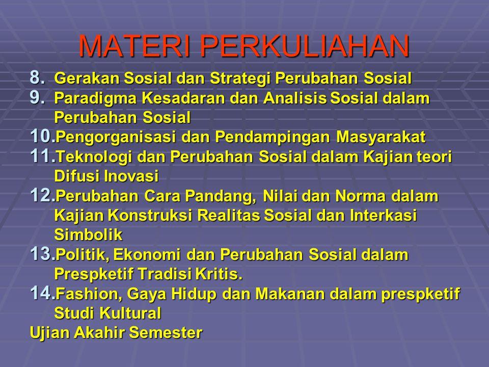 MATERI PERKULIAHAN 8. Gerakan Sosial dan Strategi Perubahan Sosial 9. Paradigma Kesadaran dan Analisis Sosial dalam Perubahan Sosial 10. Pengorganisas