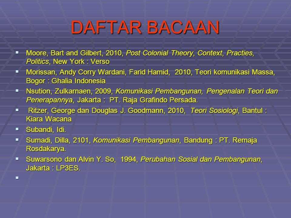 DAFTAR BACAAN  Moore, Bart and Gilbert, 2010, Post Colonial Theory, Context, Practies, Politics, New York : Verso  Morissan, Andy Corry Wardani, Far