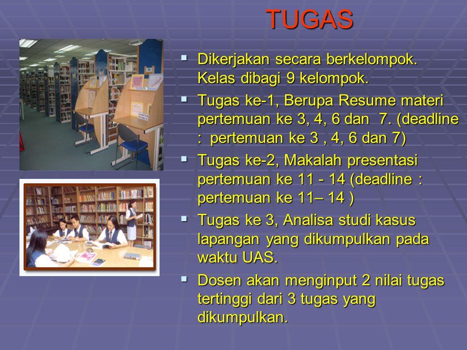 TUGAS  Dikerjakan secara berkelompok. Kelas dibagi 9 kelompok.  Tugas ke-1, Berupa Resume materi pertemuan ke 3, 4, 6 dan 7. (deadline : pertemuan k