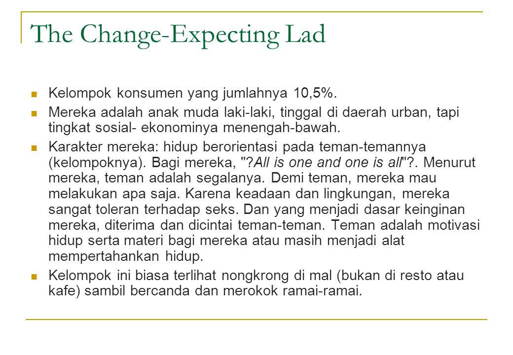 The Change-Expecting Lad  Kelompok konsumen yang jumlahnya 10,5%.  Mereka adalah anak muda laki-laki, tinggal di daerah urban, tapi tingkat sosial-