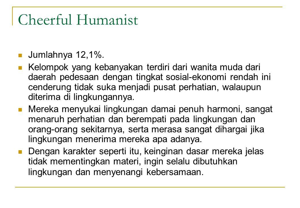 Cheerful Humanist  Jumlahnya 12,1%.  Kelompok yang kebanyakan terdiri dari wanita muda dari daerah pedesaan dengan tingkat sosial-ekonomi rendah ini