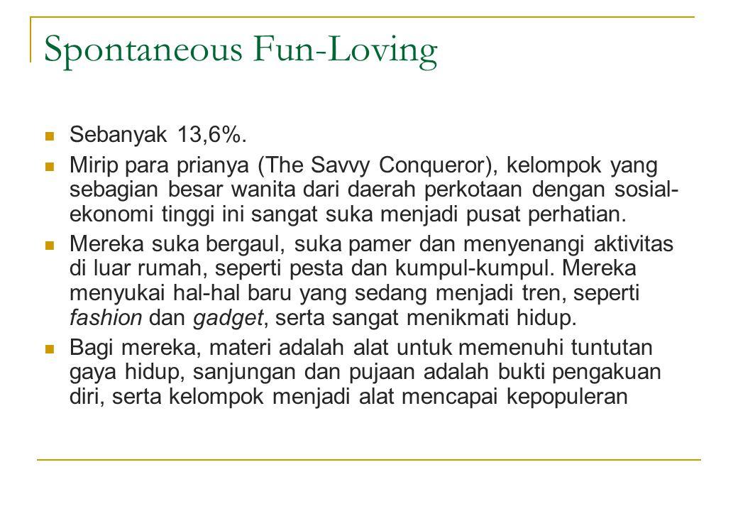 Spontaneous Fun-Loving  Sebanyak 13,6%.  Mirip para prianya (The Savvy Conqueror), kelompok yang sebagian besar wanita dari daerah perkotaan dengan