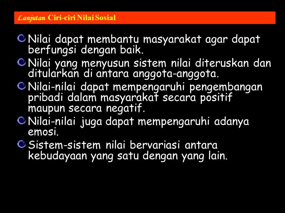 CIRI-CIRI NILAI SOSIAL Nilai tercipta melalui interaksi anggota masy. Nilai bukan bawaan sejak lahir, melainkan penularan dari orang lain. Nilai merup