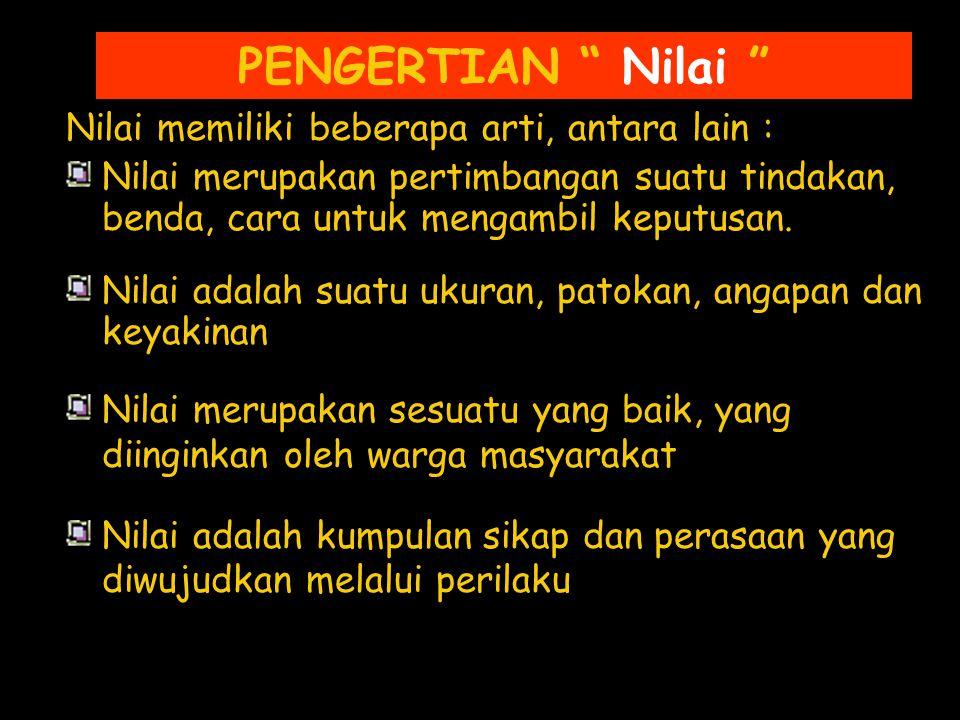 JENIS-JENIS NILAI 1.Menurut Prof.