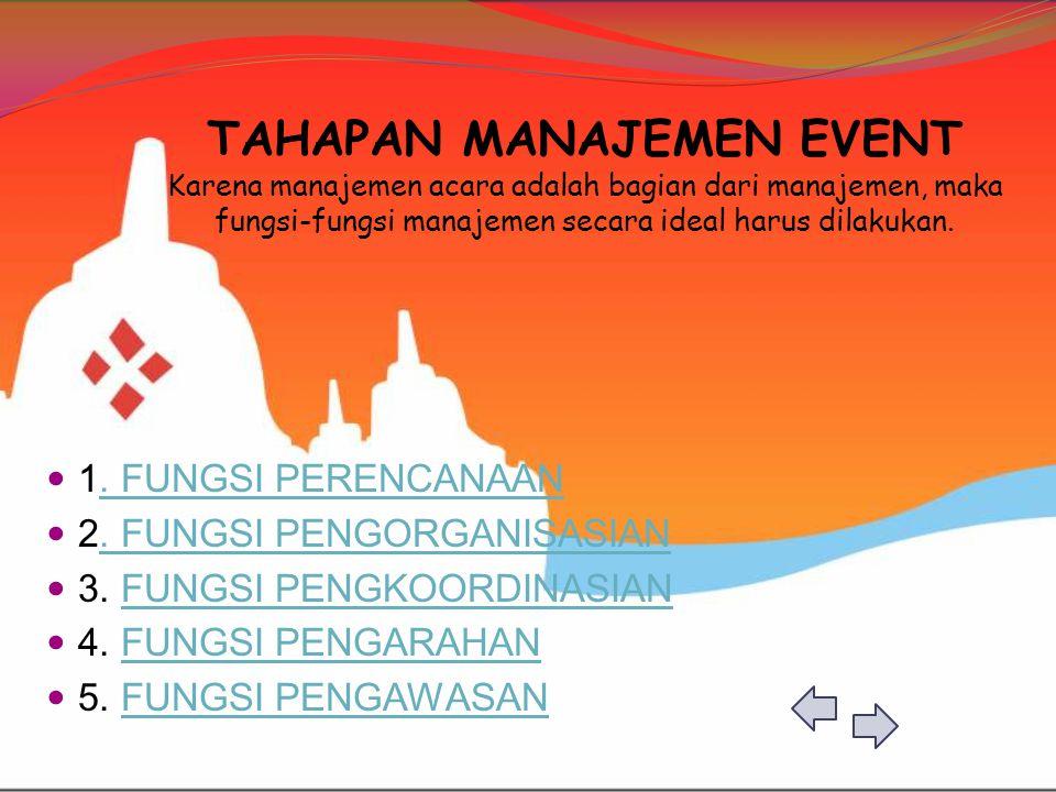 TAHAPAN MANAJEMEN EVENT Karena manajemen acara adalah bagian dari manajemen, maka fungsi-fungsi manajemen secara ideal harus dilakukan.  1. FUNGSI PE