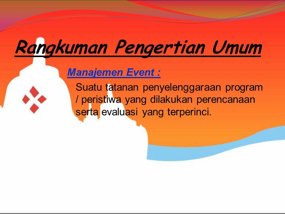 Rangkuman Pengertian Umum Manajemen Event : Suatu tatanan penyelenggaraan program / peristiwa yang dilakukan perencanaan serta evaluasi yang terperinc