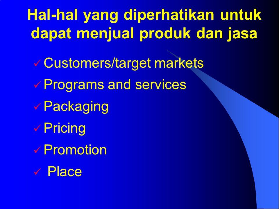  Customers/target markets  Programs and services  Packaging  Pricing  Promotion  Place Hal-hal yang diperhatikan untuk dapat menjual produk dan