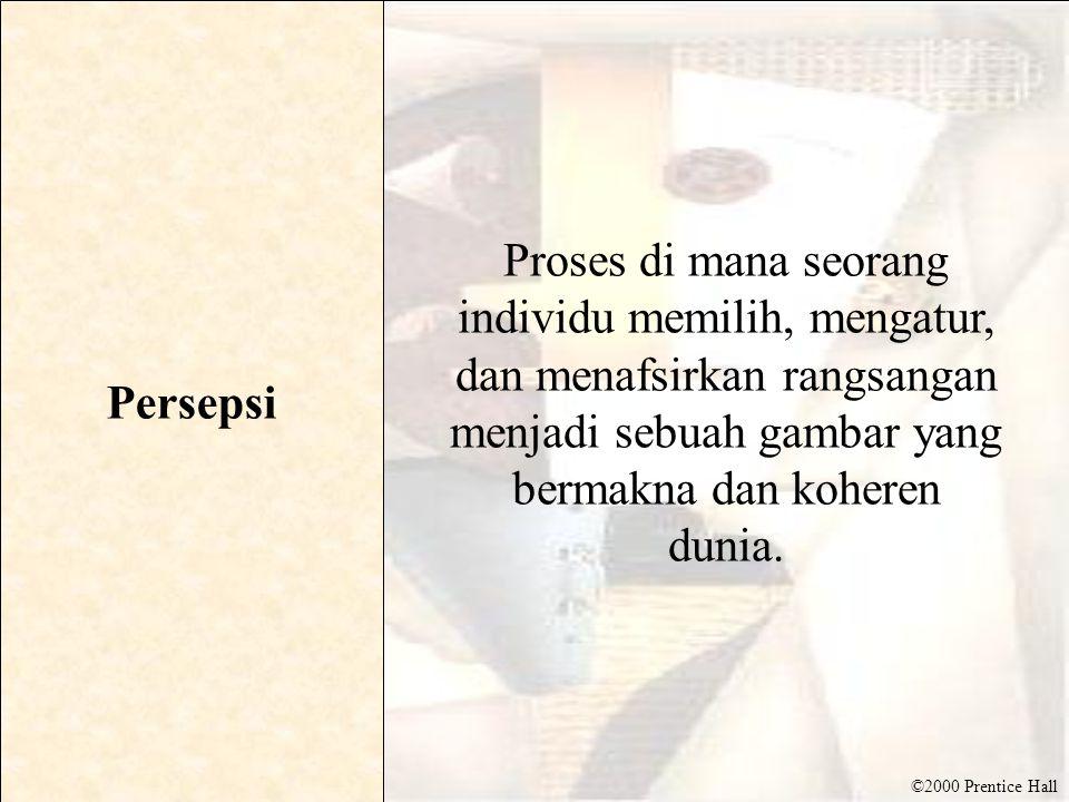 ©2000 Prentice Hall Persepsi pilihan • Tergantung pada dua faktor utama : –Konsumen pengalaman sebelumnya (harapan) –Motif konsumen