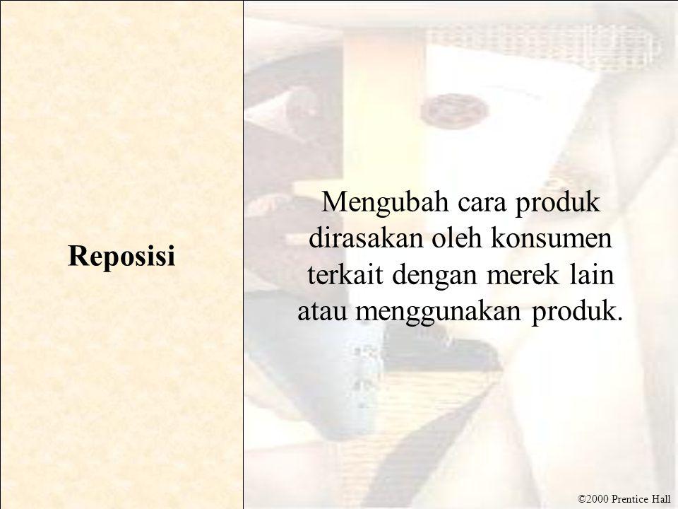 ©2000 Prentice Hall Reposisi Mengubah cara produk dirasakan oleh konsumen terkait dengan merek lain atau menggunakan produk.
