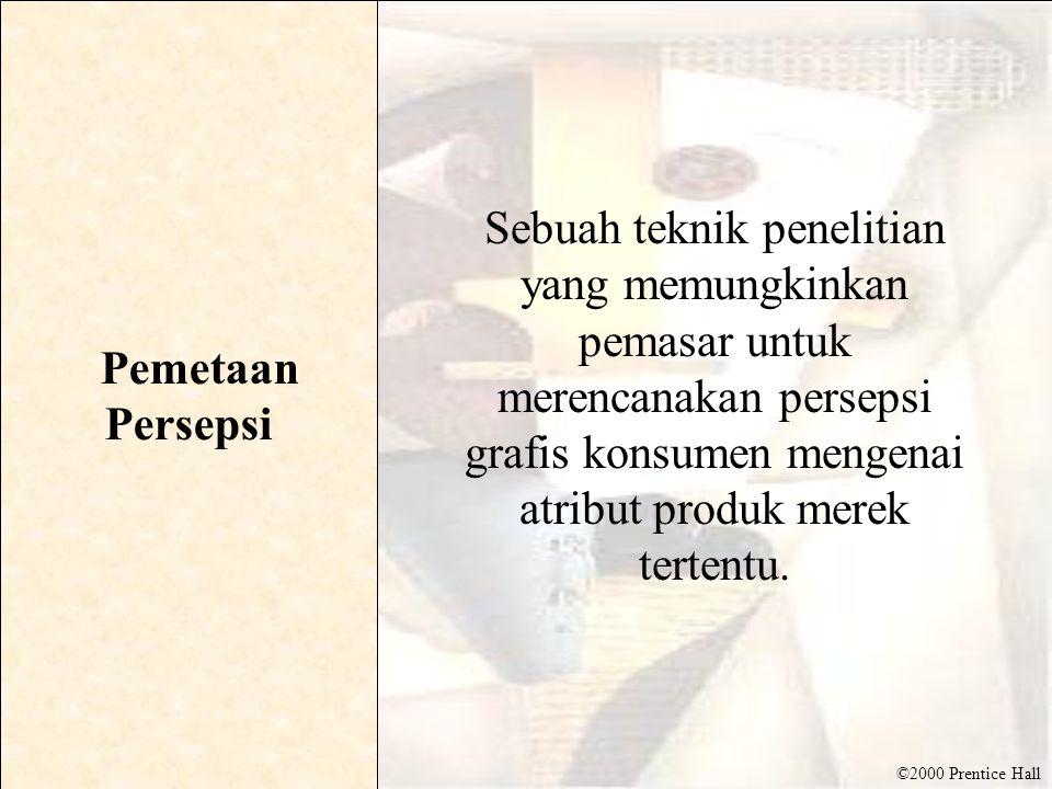 ©2000 Prentice Hall Pemetaan Persepsi Sebuah teknik penelitian yang memungkinkan pemasar untuk merencanakan persepsi grafis konsumen mengenai atribut produk merek tertentu.