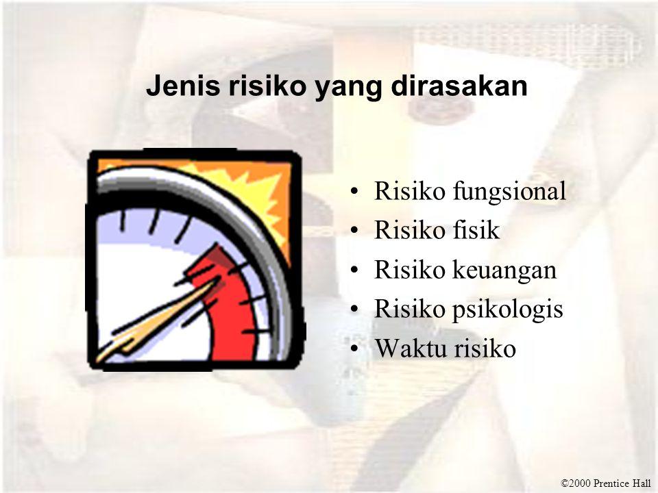 ©2000 Prentice Hall Jenis risiko yang dirasakan •Risiko fungsional •Risiko fisik •Risiko keuangan •Risiko psikologis •Waktu risiko