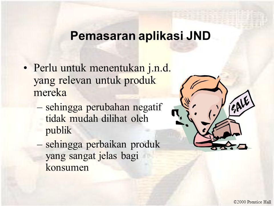 ©2000 Prentice Hall Pemasaran aplikasi JND •Perlu untuk menentukan j.n.d.