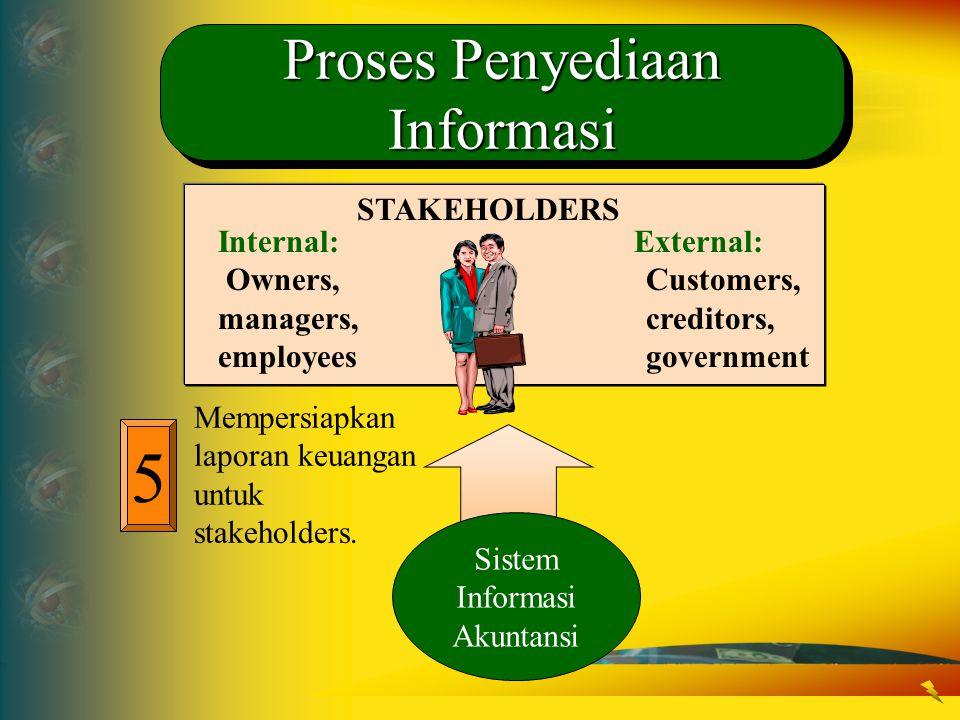 5 Mempersiapkan laporan keuangan untuk stakeholders. STAKEHOLDERS Internal: Owners, managers, employees External: Customers, creditors, government Sis