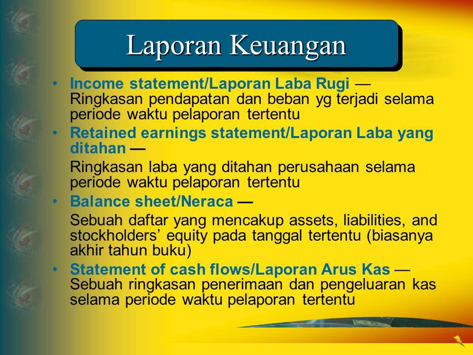 Laporan Keuangan •Income statement/Laporan Laba Rugi — Ringkasan pendapatan dan beban yg terjadi selama periode waktu pelaporan tertentu •Retained ear