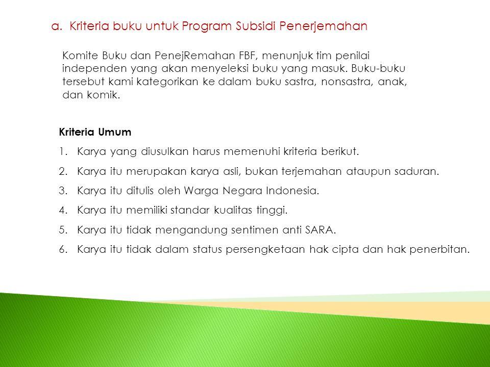 a.Kriteria buku untuk Program Subsidi Penerjemahan Kriteria Umum 1.Karya yang diusulkan harus memenuhi kriteria berikut. 2.Karya itu merupakan karya a