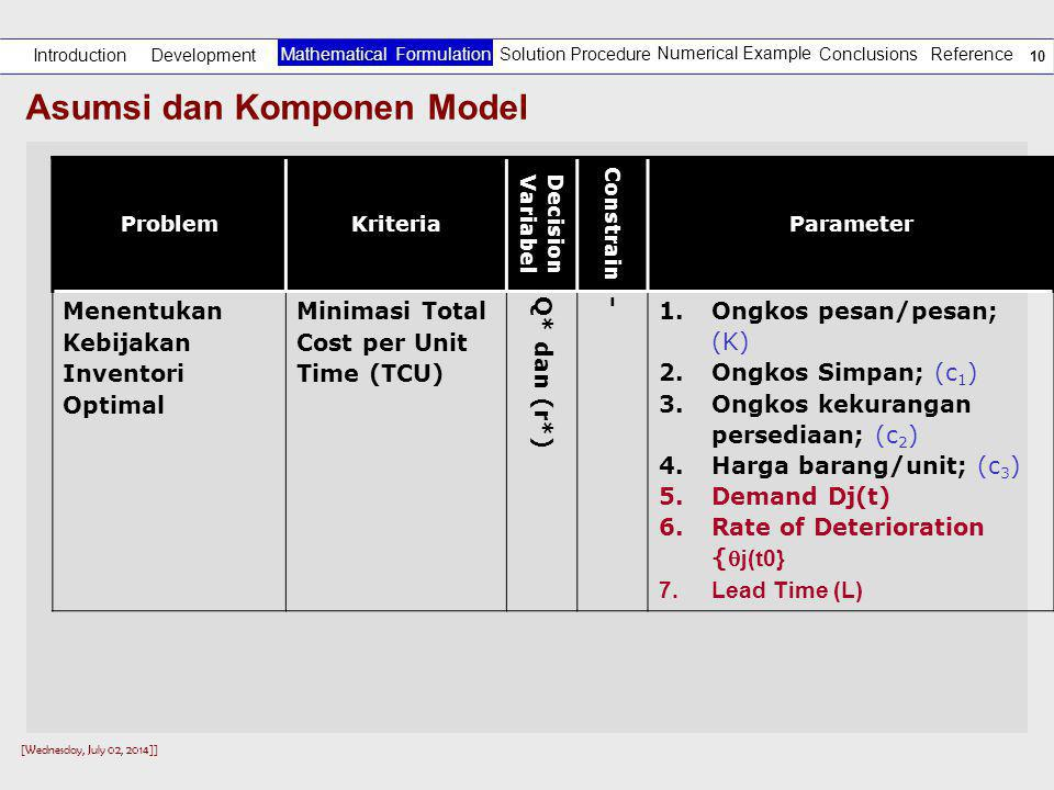 [Wednesday, July 02, 2014]] 9 Asumsi dan Komponen Model Development Introduction Solution Procedure Numerical Example Reference Mathematical Formulation Conclusions Komponen Model Q (Model Dasar) Model Aggoun et al (1999) Usulan Model Parameter dan variabel Harga barang/unit (p); Op/pesan (A) O s /unit/periode (h); O_kekurangan (c u ) Harga barang/unit (c 3 ); Op/pesan (K), O s /unit/periode (c 1 ); O_kekurangan (c 2 ) Harga barang/unit (c 3 ); Op/pesan (K) O s /unit/periode (c 1 ); O_kekurangan (c 2 ) Asumsi(1).