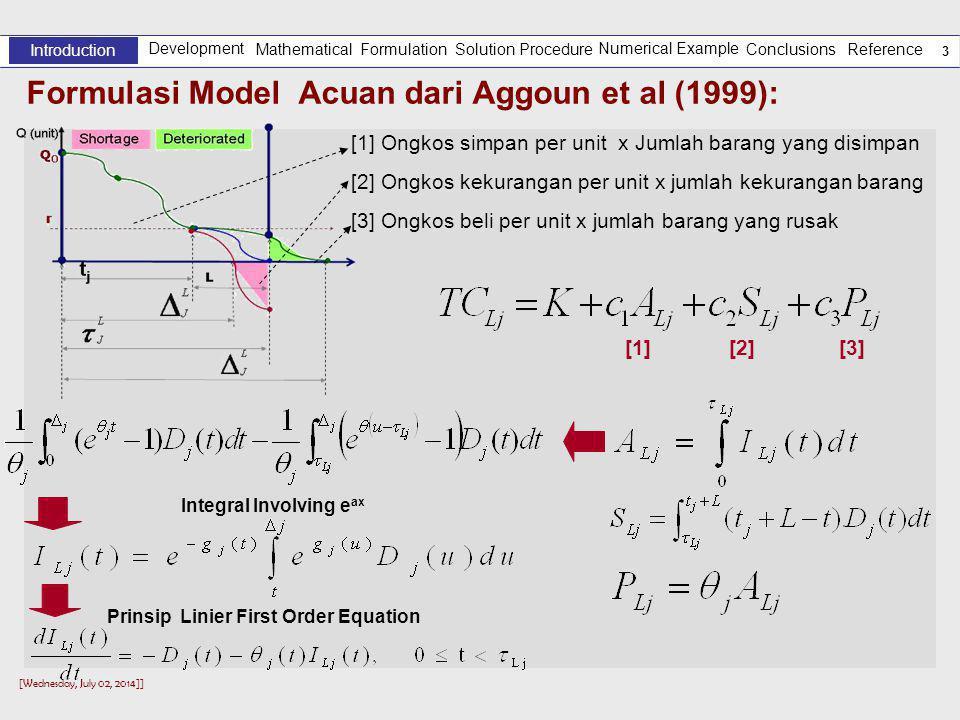 [Wednesday, July 02, 2014]] 3 Formulasi Model Acuan dari Aggoun et al (1999): Development Introduction Solution Procedure Numerical Example Reference Mathematical Formulation Conclusions [1] Ongkos simpan per unit x Jumlah barang yang disimpan [2] Ongkos kekurangan per unit x jumlah kekurangan barang [3] Ongkos beli per unit x jumlah barang yang rusak [1] [2] [3] Prinsip Linier First Order Equation Integral Involving e ax