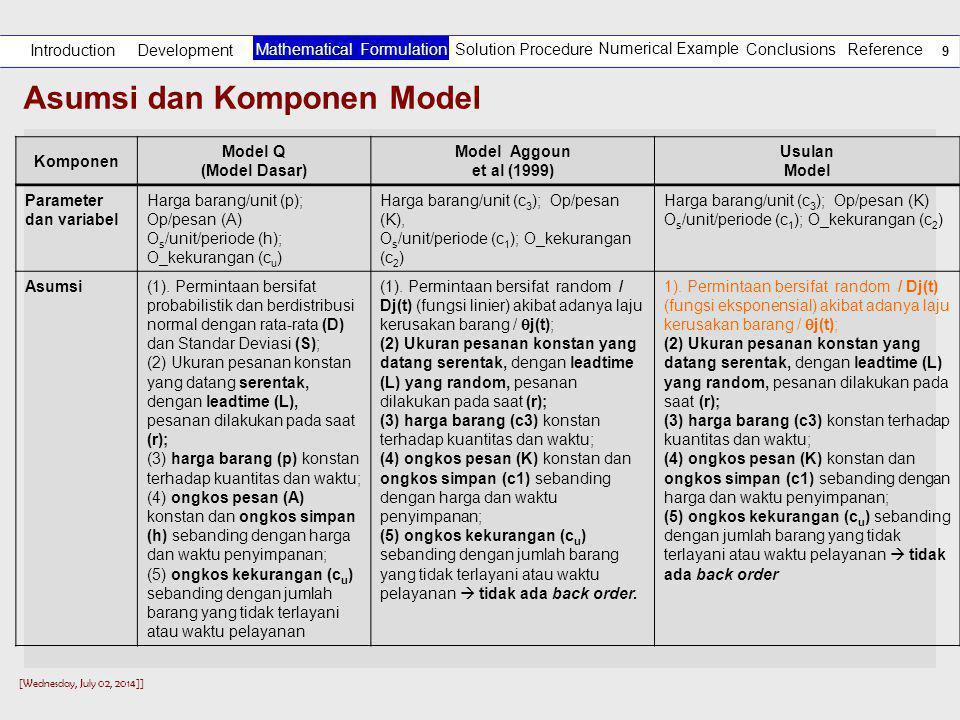 [Wednesday, July 02, 2014]] 9 Asumsi dan Komponen Model Development Introduction Solution Procedure Numerical Example Reference Mathematical Formulation Conclusions Komponen Model Q (Model Dasar) Model Aggoun et al (1999) Usulan Model Parameter dan variabel Harga barang/unit (p); Op/pesan (A) O s /unit/periode (h); O_kekurangan (c u ) Harga barang/unit (c 3 ); Op/pesan (K), O s /unit/periode (c 1 ); O_kekurangan (c 2 ) Harga barang/unit (c 3 ); Op/pesan (K) O s /unit/periode (c 1 ); O_kekurangan (c 2 ) Asumsi(1).