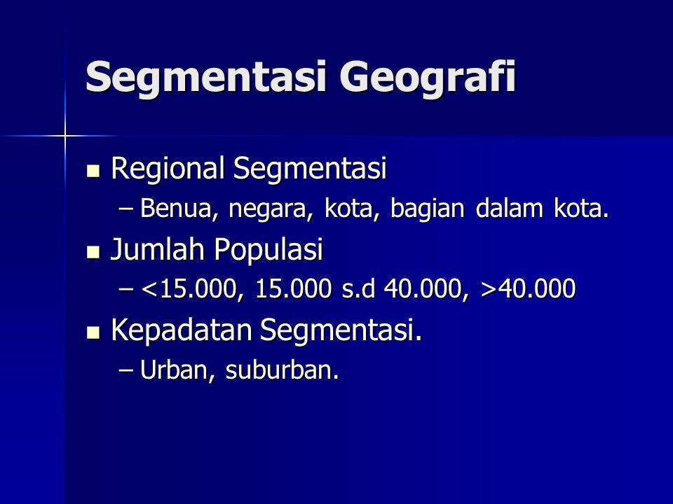Segmentasi Geografi  Regional Segmentasi –Benua, negara, kota, bagian dalam kota.  Jumlah Populasi – 40.000  Kepadatan Segmentasi. –Urban, suburban