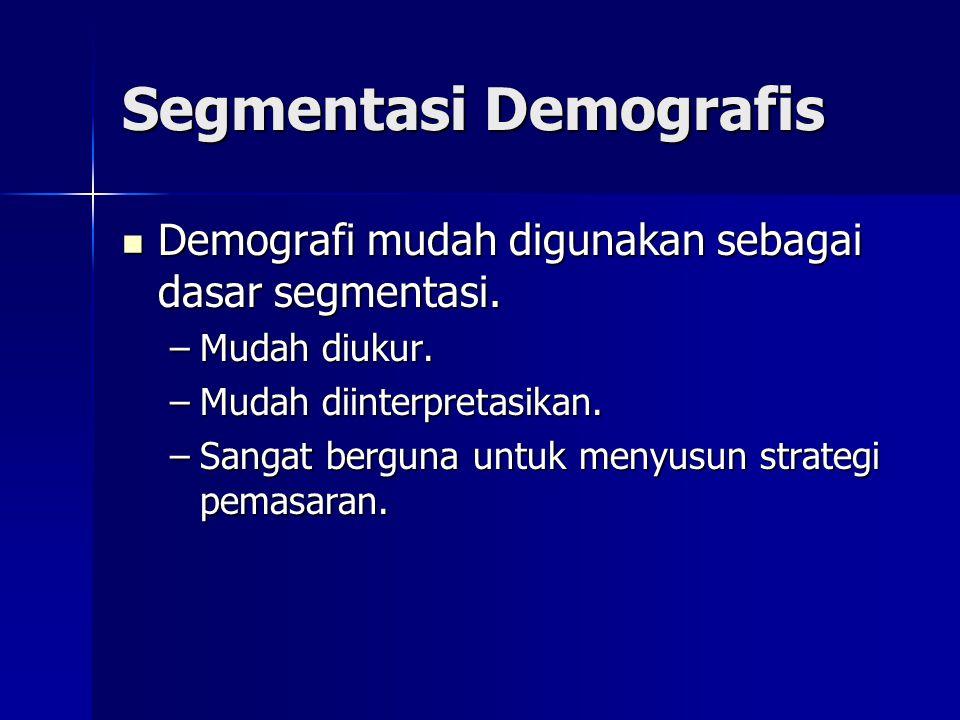 Segmentasi Demografis  Demografi mudah digunakan sebagai dasar segmentasi. –Mudah diukur. –Mudah diinterpretasikan. –Sangat berguna untuk menyusun st
