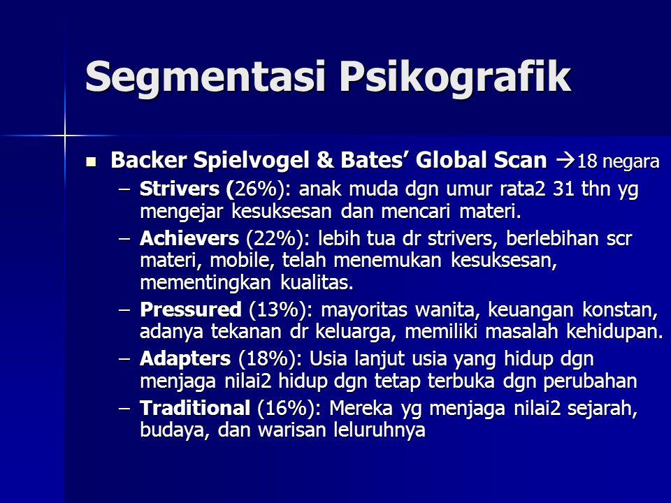 Segmentasi Psikografik  Backer Spielvogel & Bates' Global Scan  18 negara –Strivers (26%): anak muda dgn umur rata2 31 thn yg mengejar kesuksesan da