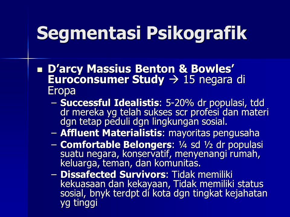 Segmentasi Psikografik  D'arcy Massius Benton & Bowles' Euroconsumer Study  15 negara di Eropa –Successful Idealistis: 5-20% dr populasi, tdd dr mer