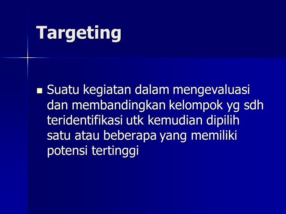Targeting  Suatu kegiatan dalam mengevaluasi dan membandingkan kelompok yg sdh teridentifikasi utk kemudian dipilih satu atau beberapa yang memiliki
