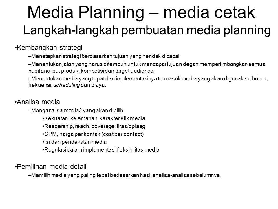 Media Planning – media cetak Analisa isi Dalam pemilihan media analisa isi media cetak khususnya majalah diperlukan selain penggunaan data jumlah pembaca.