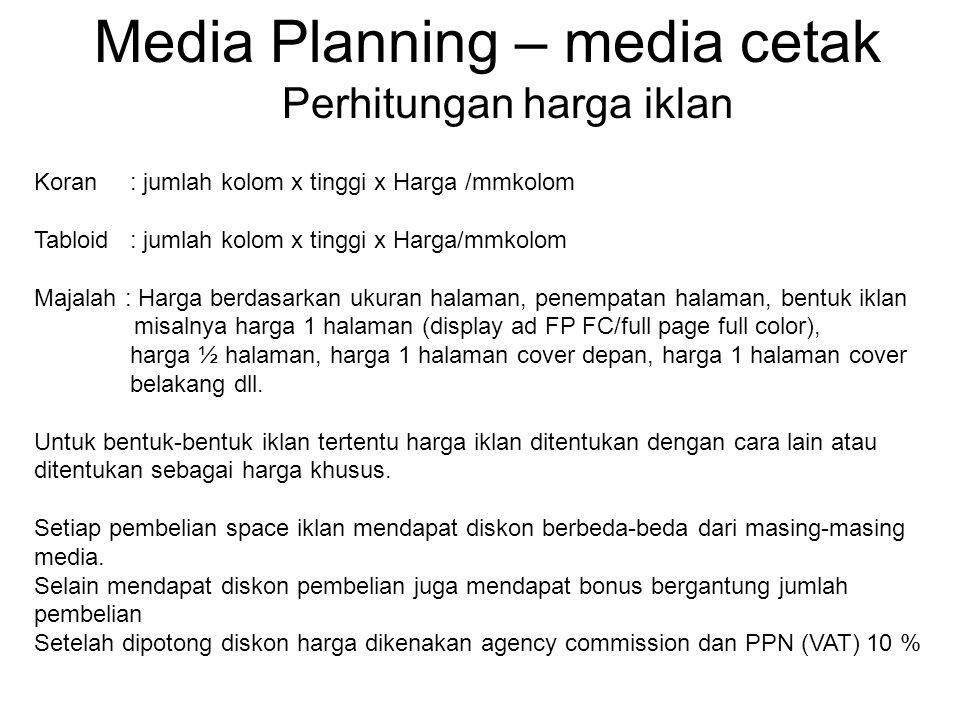 Media Planning – media cetak Jenis iklan Koran & Tabloid 1.Iklan display ad.