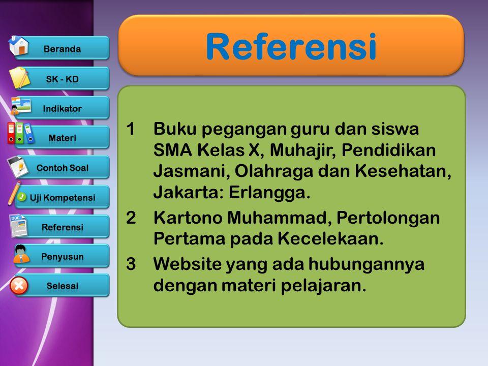 Referensi 1Buku pegangan guru dan siswa SMA Kelas X, Muhajir, Pendidikan Jasmani, Olahraga dan Kesehatan, Jakarta: Erlangga.Buku pegangan guru dan sis