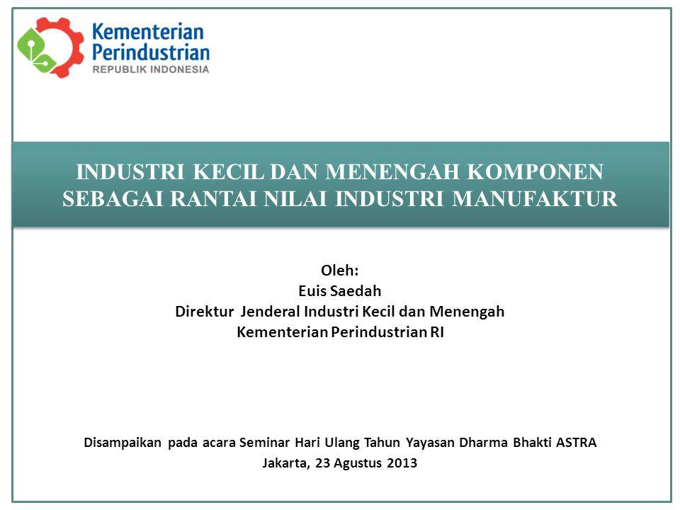Disampaikan pada acara Seminar Hari Ulang Tahun Yayasan Dharma Bhakti ASTRA Jakarta, 23 Agustus 2013 INDUSTRI KECIL DAN MENENGAH KOMPONEN SEBAGAI RANT