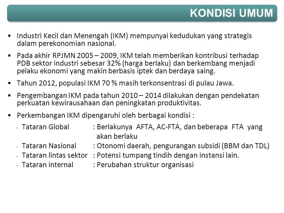  Industri Kecil dan Menengah (IKM) mempunyai kedudukan yang strategis dalam perekonomian nasional.  Pada akhir RPJMN 2005 – 2009, IKM telah memberik